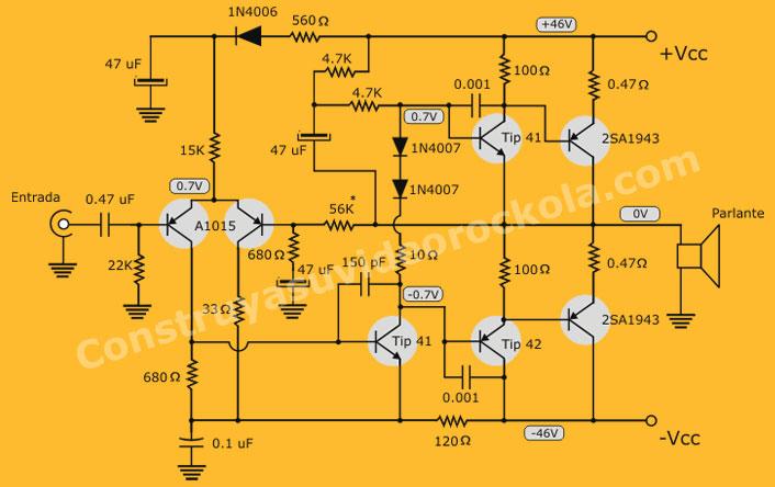 diagrama amplificador PNP