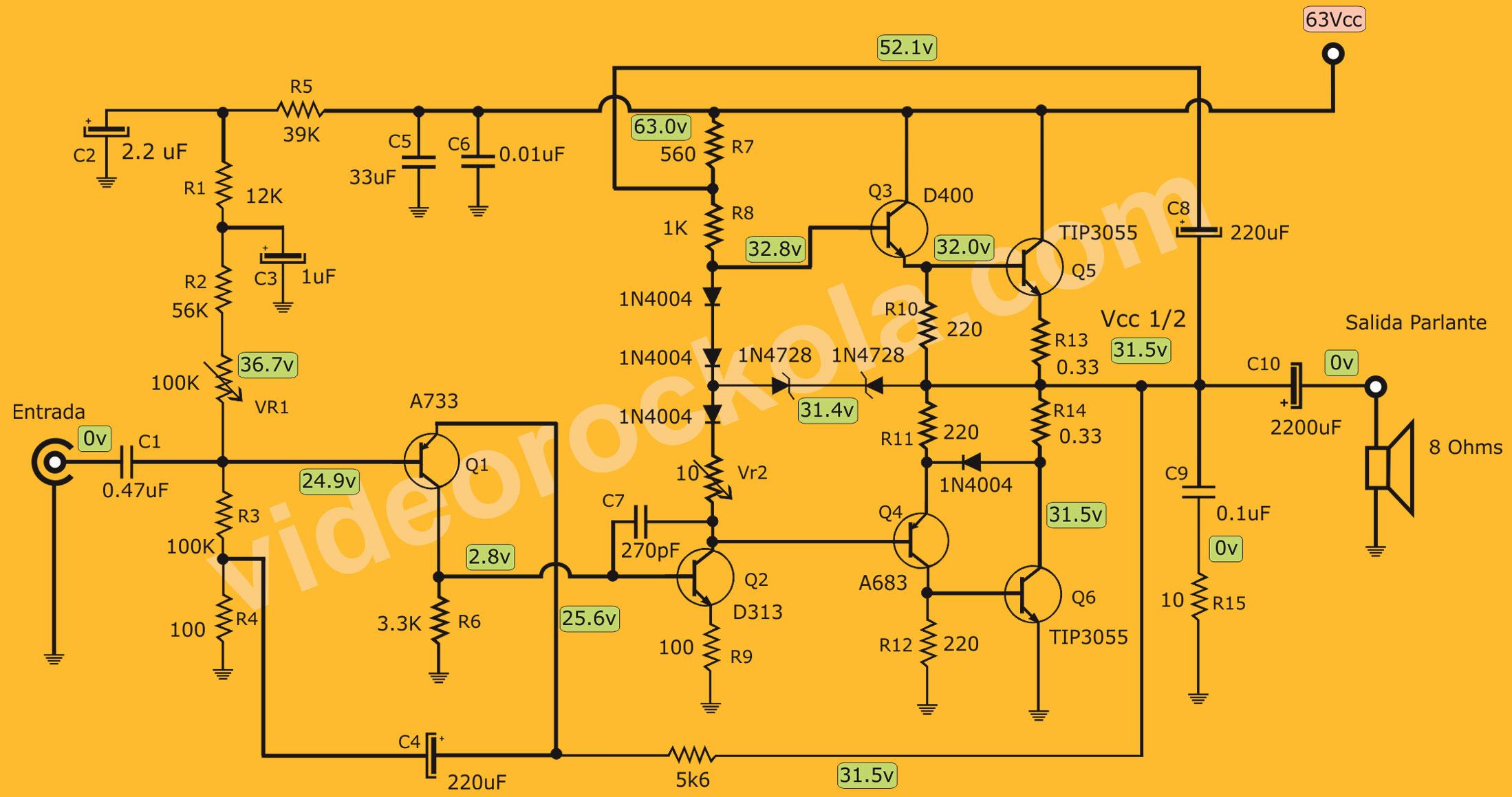 Circuito De Amplificador De Audio De 1000w Pdf : Amplificador de w cuasicomplementario con fuente simple